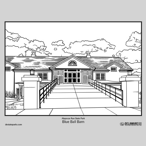 Blue Ball Barn coloring page thumbnail
