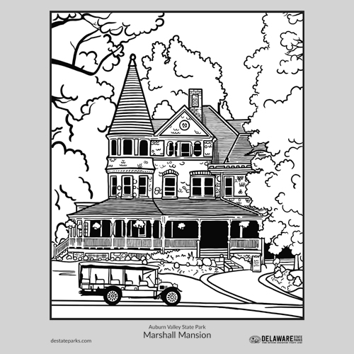 Marshall Mansion coloring page thumbnail